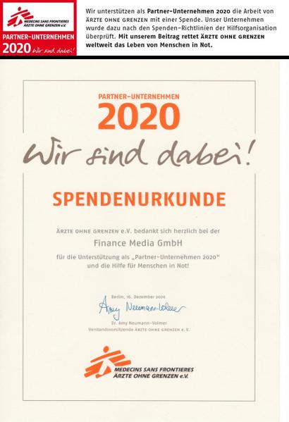 Finance Media wird Partnerunternehmen von Ärzte ohne Grenzen